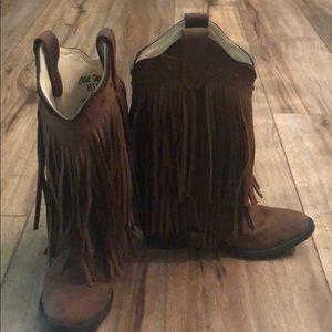 Fringe leather boots